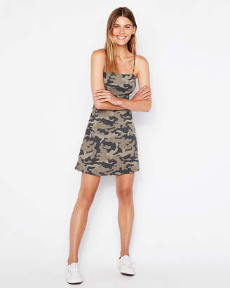 Express Camo Square Neck Knit Fit And Flare Dress