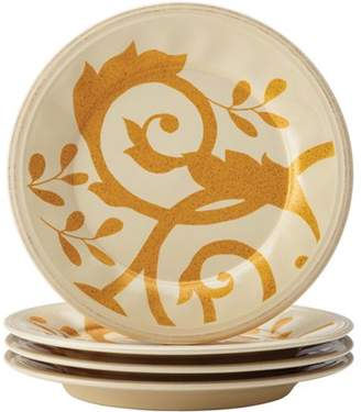 Rachael Ray Dinnerware Gold Scroll 4-Piece Salad Plate Set Almond Cream