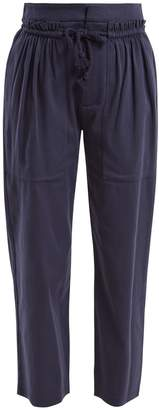 See by Chloe Tie-waist cropped cotton-blend trousers