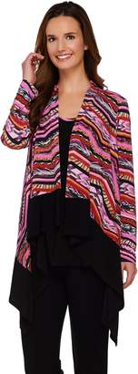 Women With Control Attitudes by Renee Printed Drape Front Cardigan and Tank Set