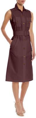Derek Lam Sleeveless Belted Button-Front Utility Shirtdress