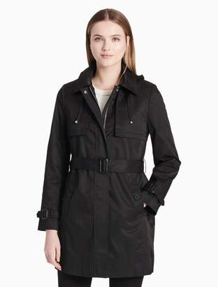 Calvin Klein belted zip hooded trench coat