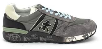 Premiata Lander Sneaker In Grey Leather Upper And Nylon.