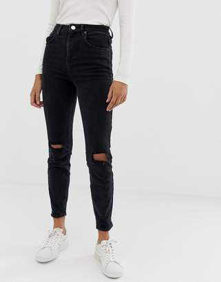 Asos Design DESIGN Farleigh high waisted slim mom jeans in washed black with busted knees