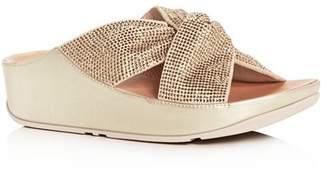 FitFlop Women's Twiss Crystal Platform Wedge Slide Sandals
