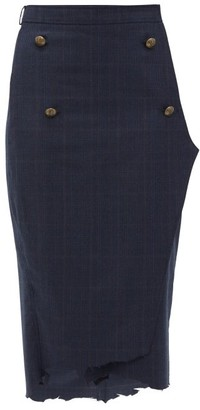 Vetements Distressed Hem Checked Wool Pencil Skirt - Womens - Navy