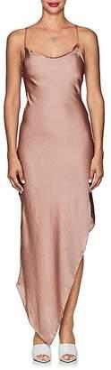 Juan Carlos Obando Women's Asymmetric Washed Satin Cowlneck Dress