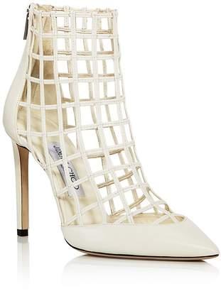 Jimmy Choo Women's Sheldon 100 Caged Leather High-Heel Booties