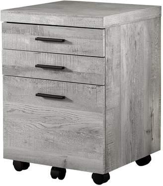 Monarch Specialties Grey Wood Grain 3-Drawer Filing Cabinet