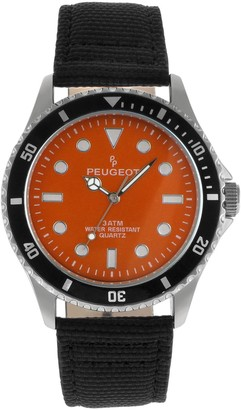 Peugeot Men's Nylon & Leather Sport Watch - 2057OR