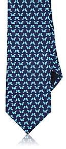 Barneys New York MEN'S BUTTERFLIES SILK TWILL NECKTIE-NAVY