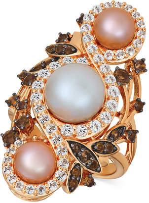 LeVian Le Vian Cultured Freshwater White Pearl (9mm), Pink Pearls (6mm) & Multi-Gemstone (1-3/4 ct. t.w.) Ring 14k Rose Gold