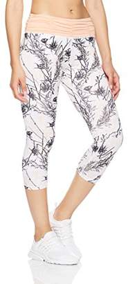 Women's Printed Capri Leggings Workout Cropped Athletic Yoga Pants with Ruched Waistband