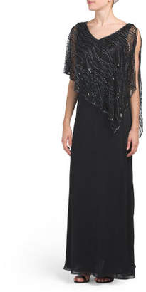 V-neck Gown With Beaded Capelet