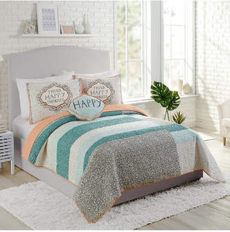 Hatch Makers Collective Molly by Makers Collective Happy Thoughts Cotton Reversible 3-Pc. Full/Queen Quilt Set Bedding