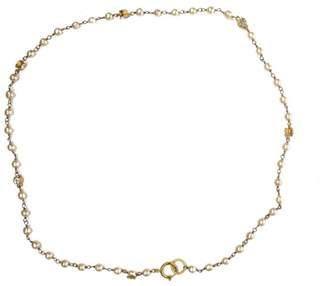 Chanel Gold Tone Hardware Crystal & Faux Pearl Vintage Chain Pendant Necklace