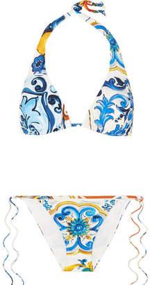 Dolce & Gabbana Printed Triangle Bikini - White