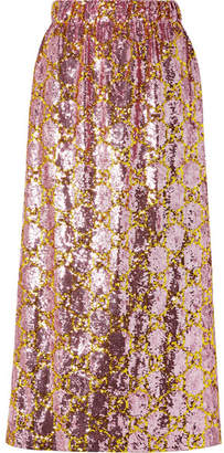 Gucci Sequined Tulle Midi Skirt - Pink