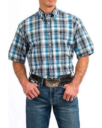 Cinch Men's Classic Fit Short Sleeve Button One Open Pocket Plaid Shirt