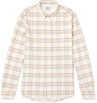 Acne Studios Isherwood Button-Down Collar Checked Cotton Shirt