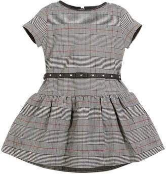 Mayoral Prince of Wales Plaid Short-Sleeve Dress, Size 3-7