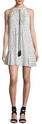 A.L.C. Hadley Sleeveless Printed Silk Flounce Dress, White/Black