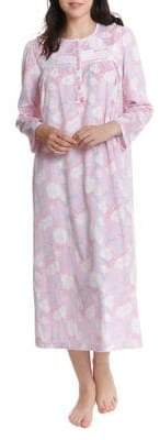Jasmine Rose Lace Trim Printed Nightgown