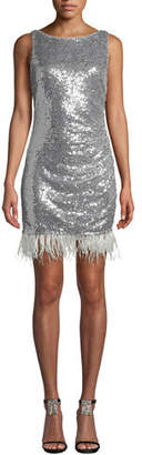 Jay Godfrey JAY X JAYGODFREY Open-Back Sequin & Feather Hem Dress