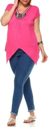 White Mark Women's Plus Size Grace Embellished Tunic Top