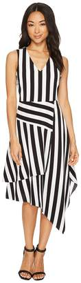 Vince Camuto Sleeveless Spectator Stripe Asymmetrical Hem V-Neck Dress Women's Dress