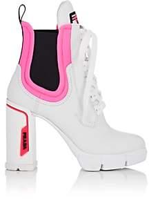 Prada Women's Leather & Neoprene Platform Ankle Boots-White