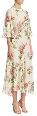 Giambattista Valli Rose-Print Silk Midi Dress
