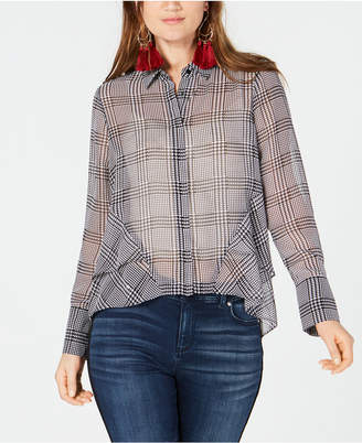 INC International Concepts I.N.C. Ruffled Houndstooth Button-Front Shirt, Created for Macy's