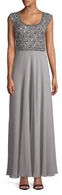 J Kara Petite Sleeveless Embellished Long Dress
