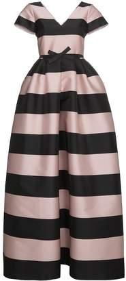 Rochas Silk Stripe Long Length Dress