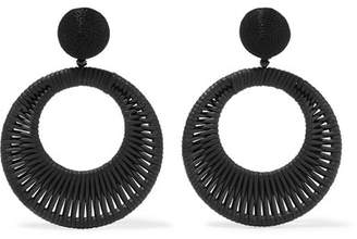 Oscar de la Renta Woven Leather, Cord And Bead Clip Earrings - Black