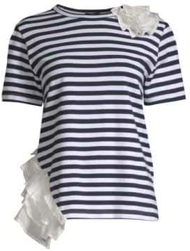 Clu Mixed Media Ruffle& Stripe T-Shirt