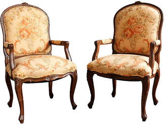 One Kings Lane Vintage Pair of Louis XVI-Style Bergeres - Castle Antiques & Design