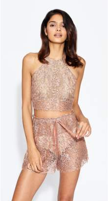 Miguelina Noel Metallic Chantilly Lace Halter Top