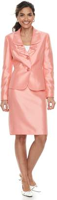 Le Suit Women's Ruffle Sateen Jacket & Skirt Suit