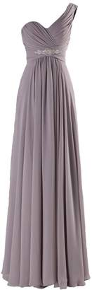 VaniaDress Women One Shoulder Chiffon Long Bridesmaid Dress Prom Gowns V198LF US