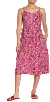 Mimichica Mimi Chica Floral Print Front Button Midi Dress