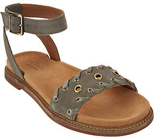 Clarks Artisan Suede Ankle Wrap Sandals -Corsio Amelia