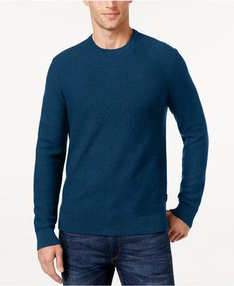 Michael Kors Men's Waffle-Knit Crew-Neck Sweater $125 thestylecure.com