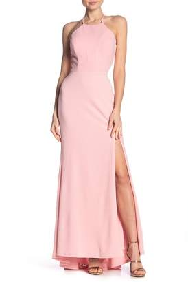 Jump Open Back Halter Gown