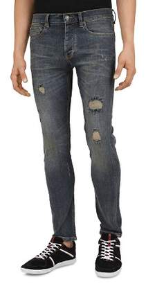 The Kooples Blue Destroy Straight Slim Fit Jeans in Vintage Blue