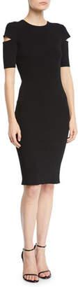 Helmut Lang Slash Short-Sleeve Crewneck Dress