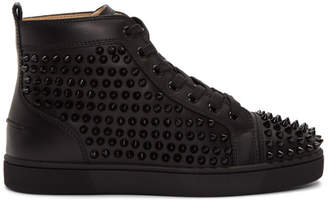18221e639ed0 Christian Louboutin Black Louis Spikes High-Top Sneakers