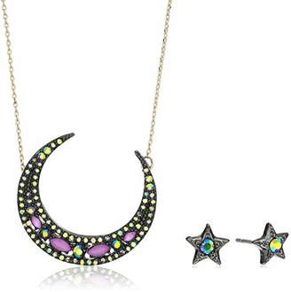 Betsey Johnson GBG) Betsey's Dark Magic Moon Pendant Necklace and Star Stud Earrings Set