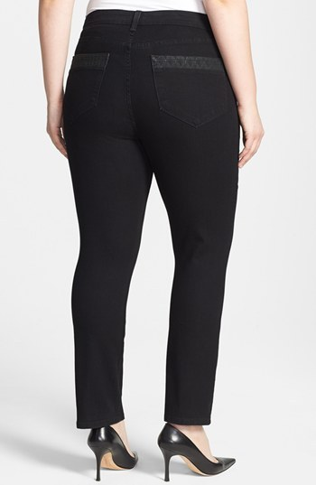 NYDJ 'Marilyn' Embroidered Pocket Stretch Straight Leg Jeans (Enzyme) (Plus Size)